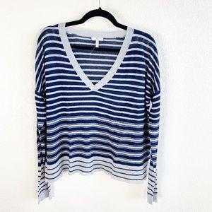 Joie Navy/Gray V-Neck Cotton/Cashmere Sweater M
